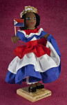 St. Maarten Girl Dressed in Red, White, and Blue, Holding Flag of Dutch Saint Maarten (Three Quarter View)