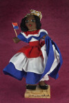 St. Maarten Handcrafted Female Doll Holding Flag for Dutch Sint Maarten (Full View)