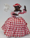 St. Maarten Handcrafted Stuffed Female Doll with Lace Parasol (Full View)