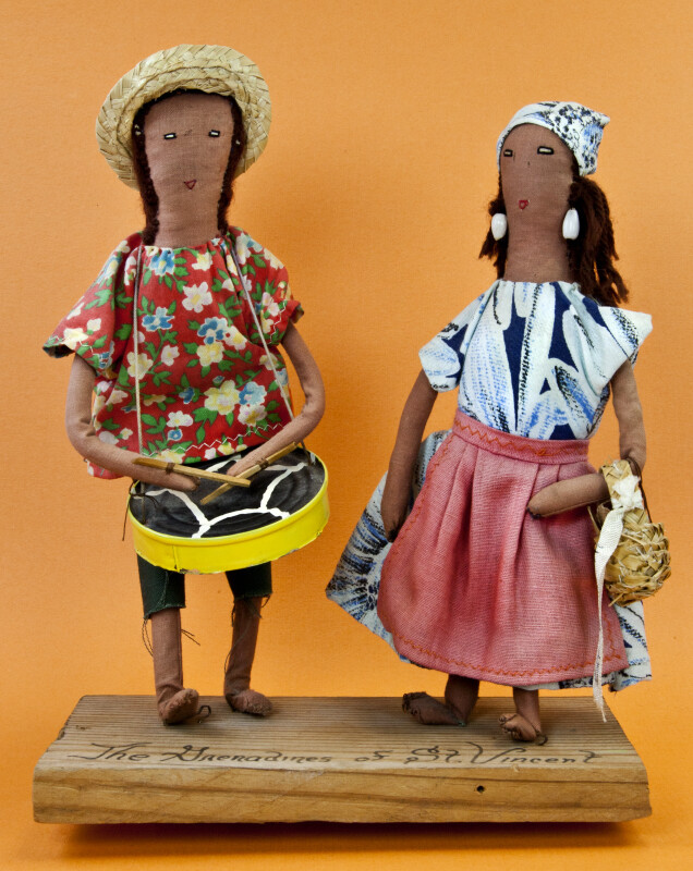 St. Vincent Island Cloth and Wire Figures of Man and Woman from the Grenadines of St. Vincent Island (Full View)