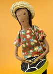 St. Vincent Island Handcrafted Steel Drum Player with Straw Hat (Close Up)