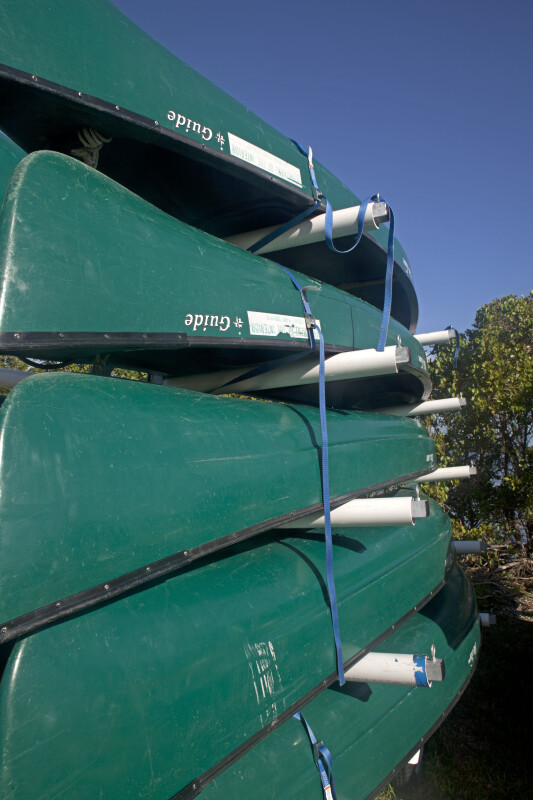 Stacked Canoes Close-Up