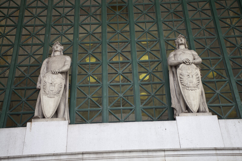 Statues with Shields