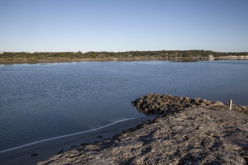 Stone Jetty Protecting Shoreline at Fort Matanzas in the Light of Late Afternoon