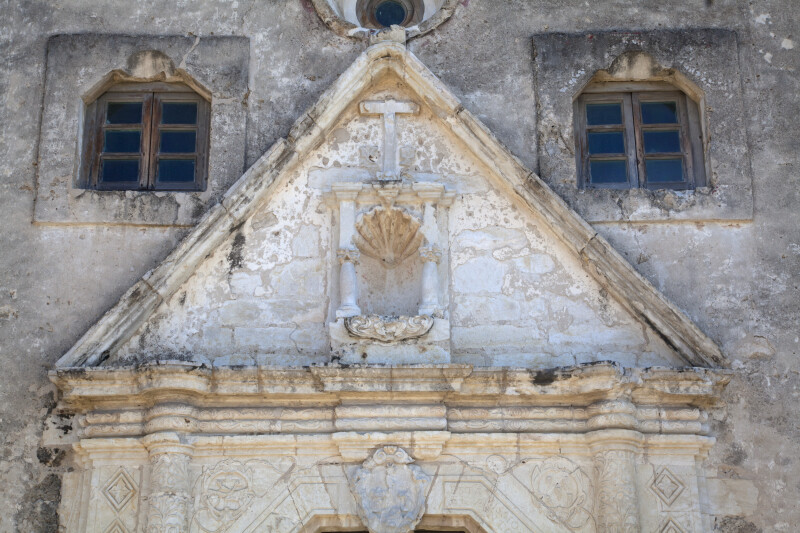 Stonework Above the Main Doors at Mission Concepción