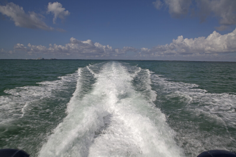 Stream of Water Created by Forward Movement of a Motorboat