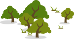 Stylized Illustration of Five Trees and Other Vegetation