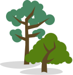 Stylized Illustration of One Tall and One Short Tree