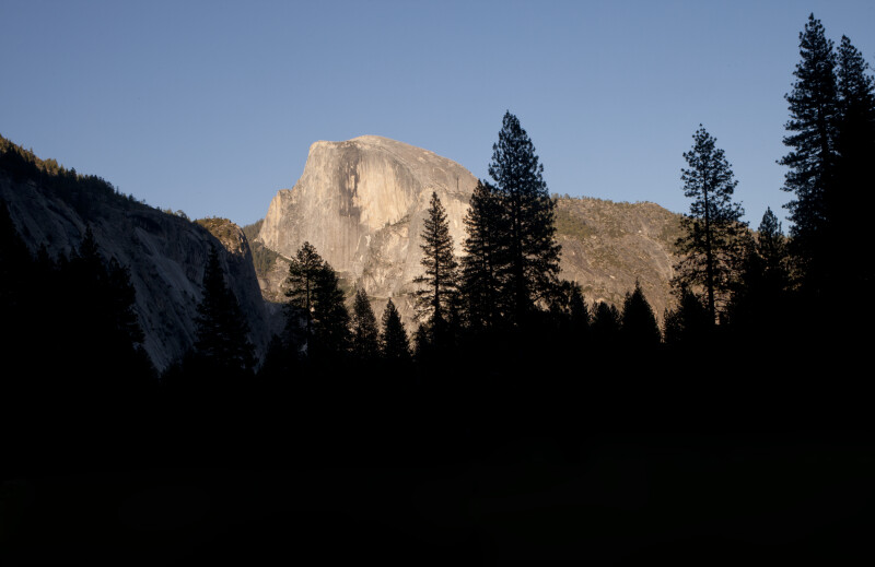 Sunlight on Half Dome and Shade in the Valley