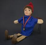 Swiss Hand Puppet of Boy Wearing a Bell  (Three Quarter View)
