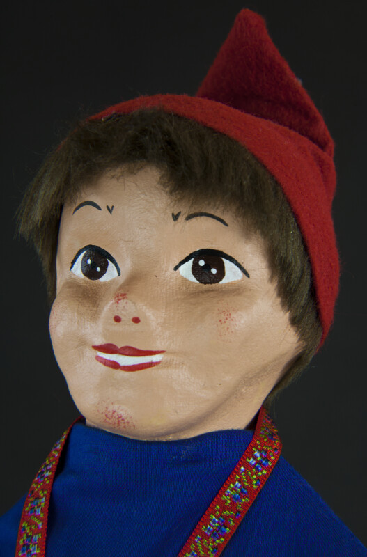 Switzerland Boy Puppet with Hand Painted Face (Extreme Close Up)