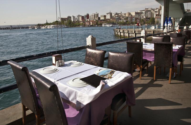 Table at a Restaurant on Galata Bridge in Istanbul, Turkey