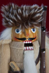 Tennessee Nut Cracker Face of Davy Crockett with White Fur Hair and Beard (Close Up)