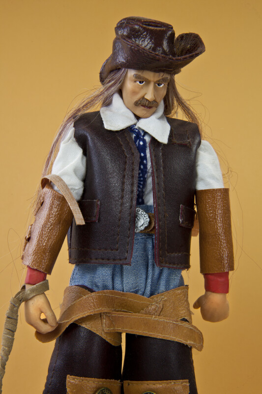 Wyoming Ceramic Cowboy Figurine with Leather Hat and Hand Painted Face (Close Up)