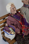 Texas Ceramic, Tall Female Senior Citizen with Burlap Bag Filled with Groceries (Three Quarter View)