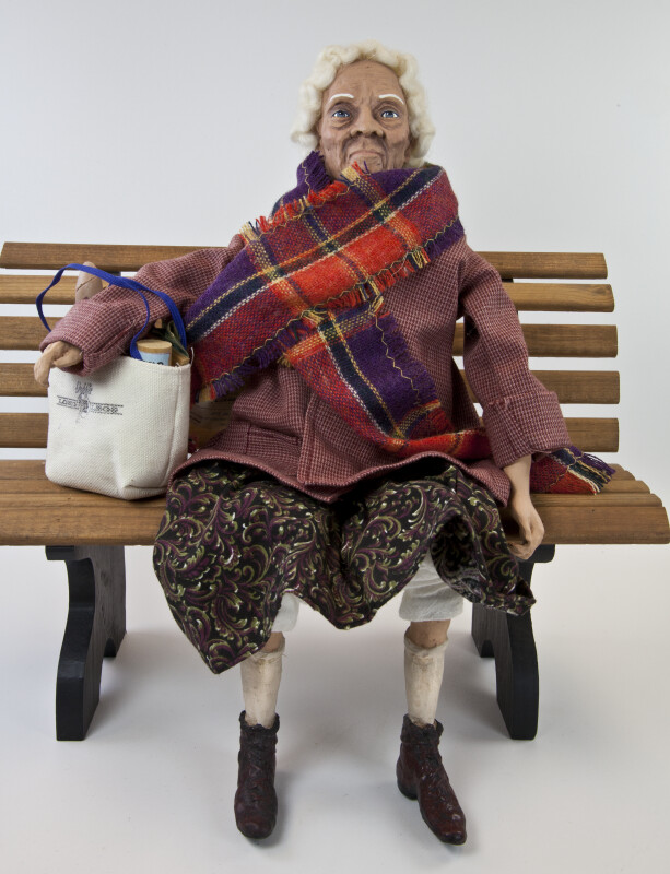 Texas Daddy Long Legs Doll Named Grace by Karen Germany with Jacket and Shopping Bag Full of Groceries (Full View)