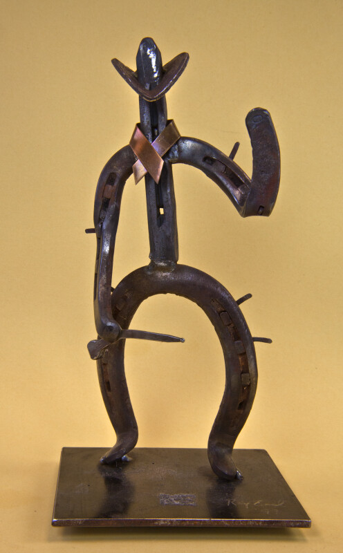 Texas Male Sculpture of Cowboy Made from Horseshoes and Horseshoe Nails (Full View)