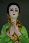 Thailand Fabric Thai Doll Wearing Traditional Gold Jewelry (Close Up)
