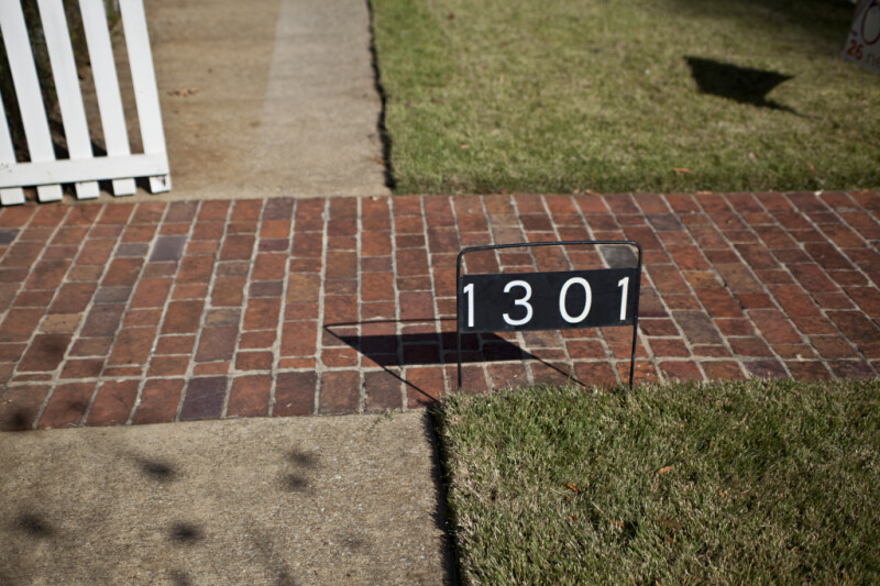 The Address Sign in Front of the Pauline Parker House, in Corinth, Mississippi