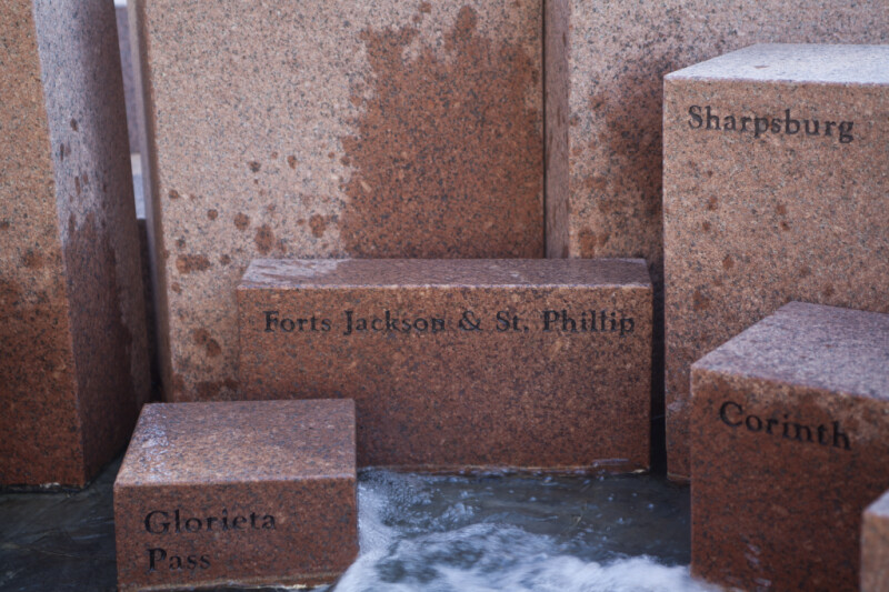 The Blocks Representing the Battles of Forts Jackson and Saint Phillip, Glorietta Pass, Corinth, and Sharpsburg