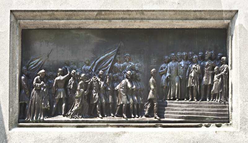 """The Departure for the War"" Bronze Relief on the Soldiers and Sailors Monument at Boston Common"