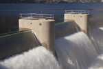 The Drum Gates Releasing Water into the Spillway Channel