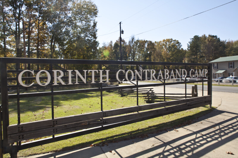 The Entrance Sign at Corinth Contraband Camp