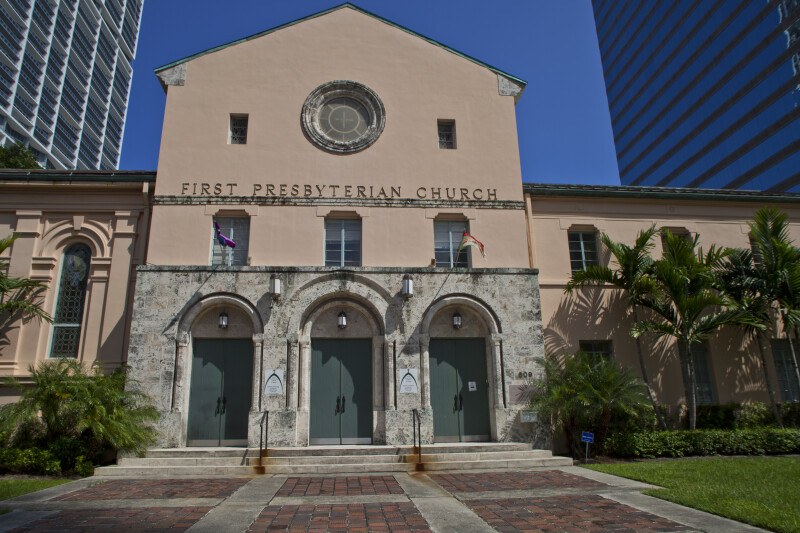 The Front Entrance to the First Presbyterian Church in Miami, Florida