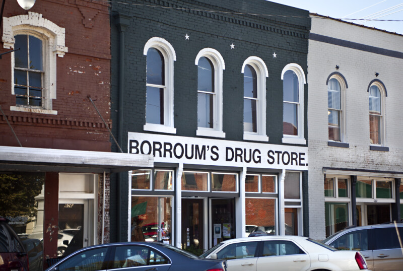 The Front Facade of Borroum's Drug Store