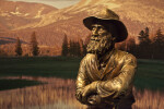 The Head and Torso of a Bronze Sculpture of John Muir