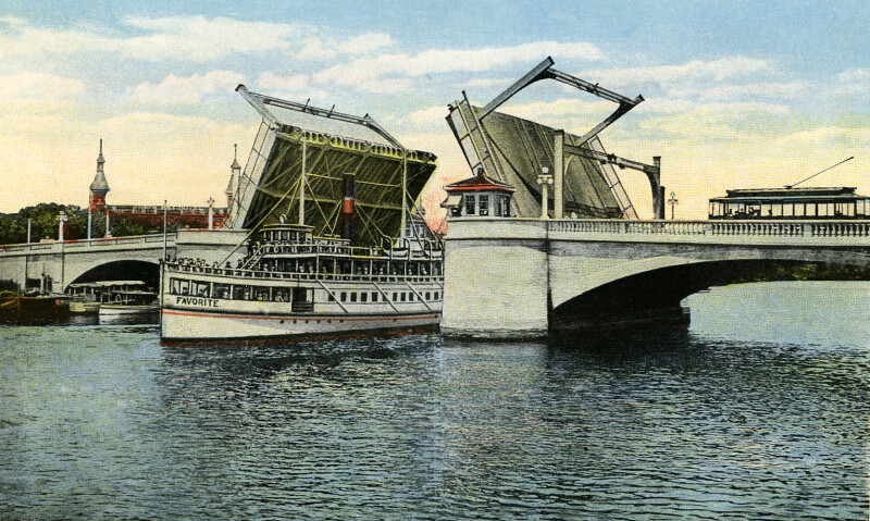 The Lafayette Street Bridge is Raised to Allow a Ship to Pass