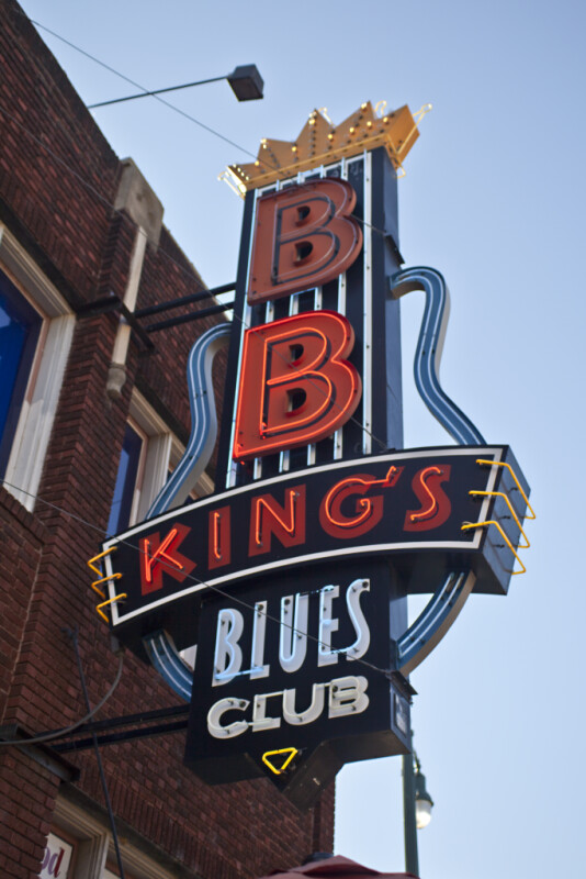 The Neon Sign at B. B. King's Blues Club, with the Lower B Lit