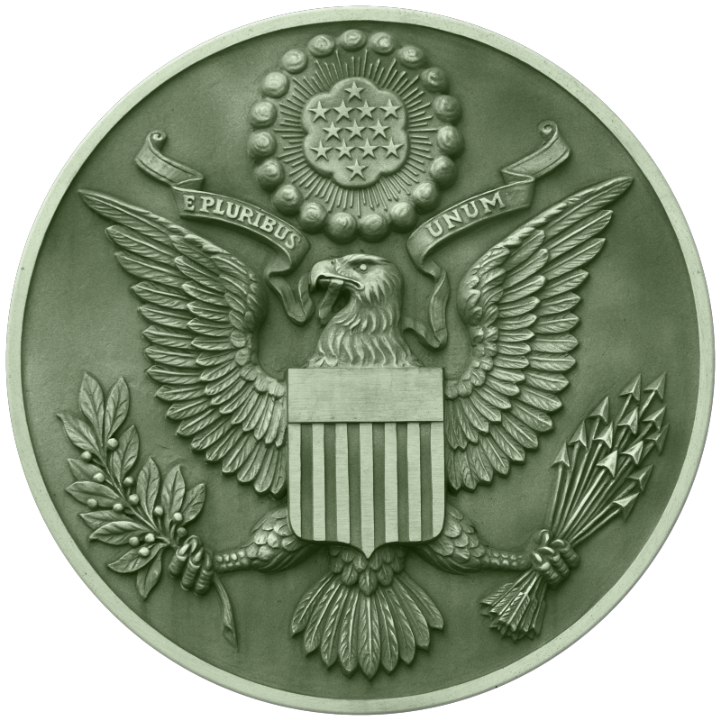 The Obverse Side of the Great Seal of the United States in Green