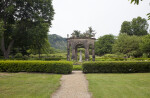 The Pavilion, the Statue, and the Hedges in the Garden