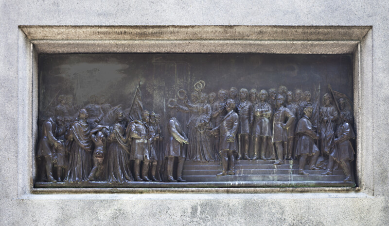 """The Return from the War"" Bronze Relief on the Soldiers and Sailors Monument at Boston Common"