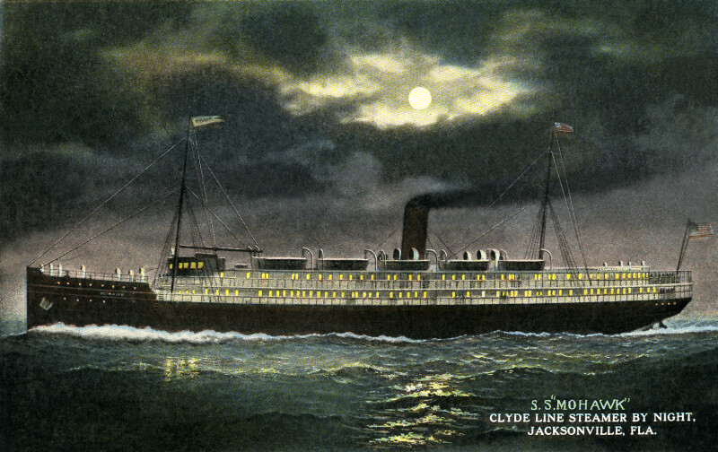 "The S.S. ""Mohawk"" Clyde Line Steamer, by Night"
