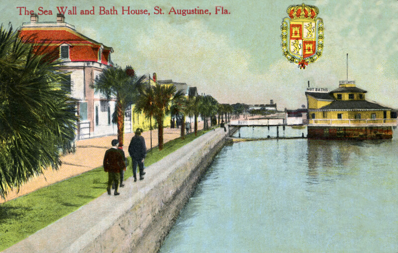 The Sea Wall and Bath House in St. Augustine, Florida