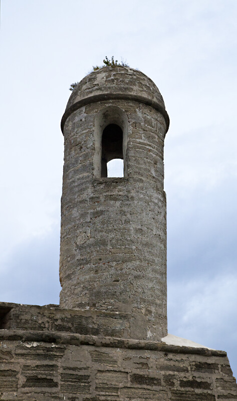 The Sentry Tower on the Northeast Bastion of Castillo de San Marcos, from below