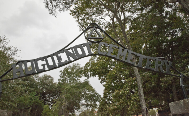 The Sign above the Entrance to the Huguenot Cemetery