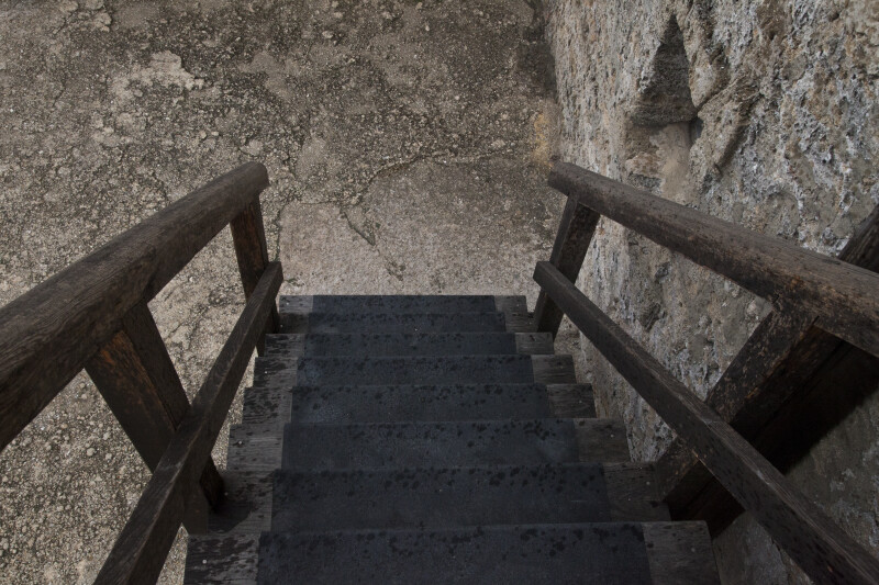 The Stairs Leading from the Officer's Quarters, on the South Wall of the Watchtower
