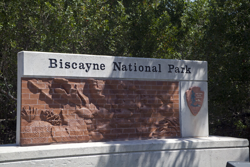 Three Dimensional Brick Sign at Biscayne National Park