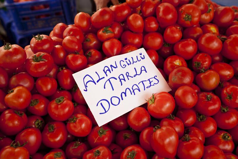 Tomato Display at an Outdoor Market in Kusadasi