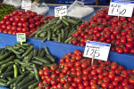 Tomatoes and Zucchini for Sale at an Outdoor Market in Kusadasi