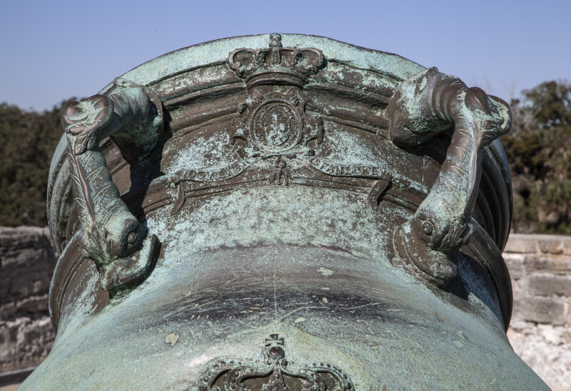 Top of an Oxidized, Bronze, 15-Inch Mortar with Two Handles