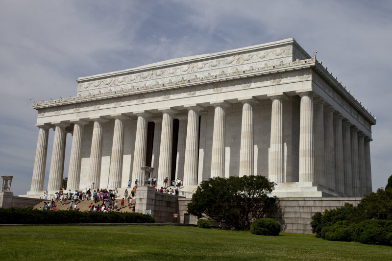 Tourists at Lincoln Memorial