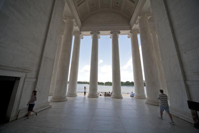 Tourists in Jefferson Memorial
