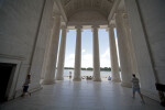 Tourists in Jefferson Memorial