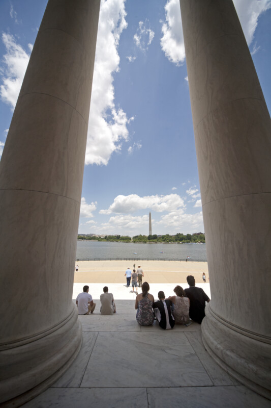 Tourists on Jefferson Memorial Steps