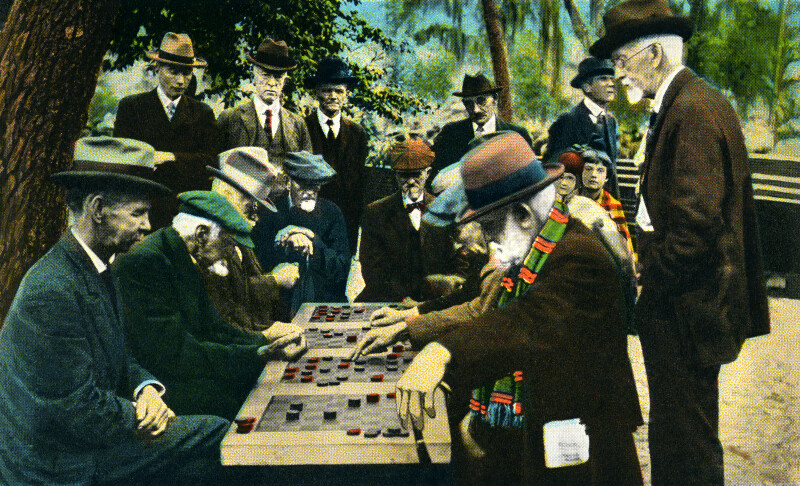Tourists Playing Checkers
