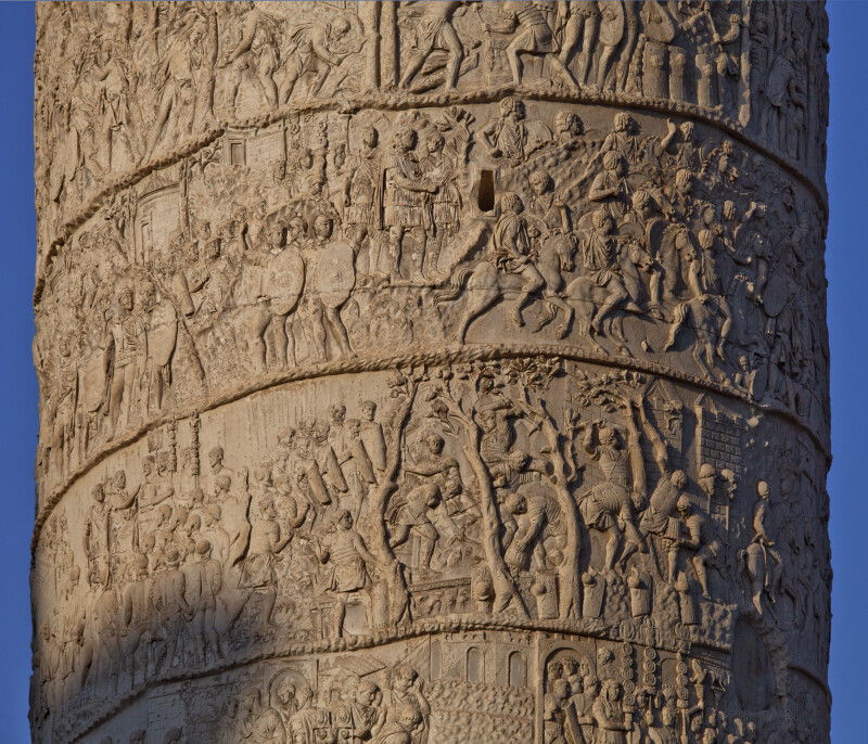 Trajan Addresses His Troops, Commands Corduroy Roads to be Built, and Watches His Mauritanian Cavalry in a Battle